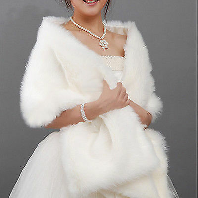 Ivory/White Faux Fur Jacket Wrap Shrug Bolero Shawl Cape Bridal Wedding Hot Sale