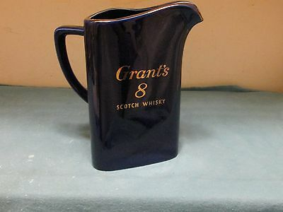 Vtg Wade Pottery England Cobalt Blue~Grant's 8 Scotch Whiskey Icelip Pitcher