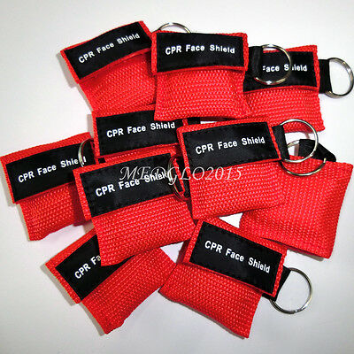 50pcs/pack Cpr Mask With Keychain Cpr Face Shield For First aid care