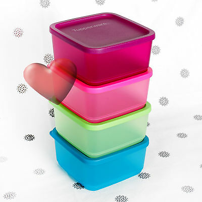 NEW Tupperware Square Rounds set of 4 Storers Oceanic Pink Blue Purple 650ml