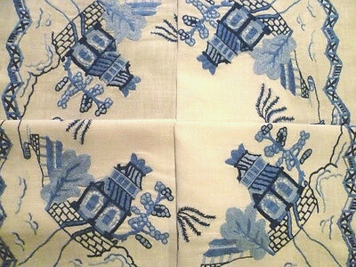 Stunning Vintage Hand Embroidered Skilful Blue Willow Supper Tablecloth