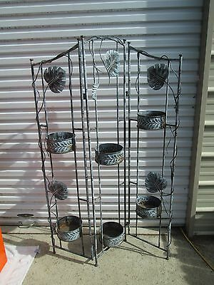3 PANEL Plant Stand Flower Garden Metal  Planter Pot Holder Garden Decor MUST C