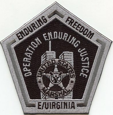 UNITED STATES MARSHAL EASTERN VIRGINIA VA Enduring Justice gray POLICE PATCH
