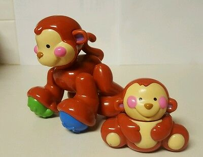 LOT OF Two  FISHER PRICE AMAZING ANIMAL MONKEY AND BABY