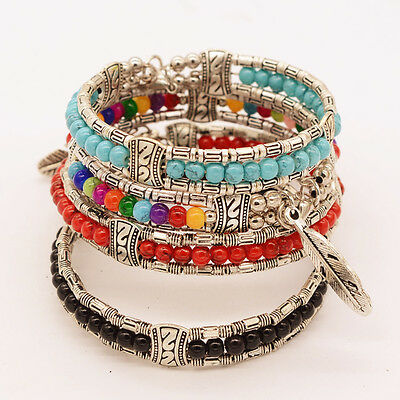 Boho Tibetan Silver Plated Feather Bangle Women Vintage Gypsy Turquoise Bracelet