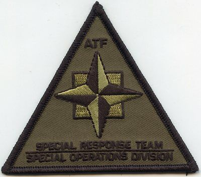 ATF SPECIAL RESPONSE TEAM - SPECIAL OPERATIONS DIVISION green SWAT POLICE PATCH