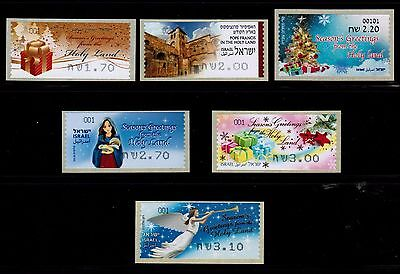 Israel Christmas ATM Labels & Pope Visit Collection of 6 Stamps