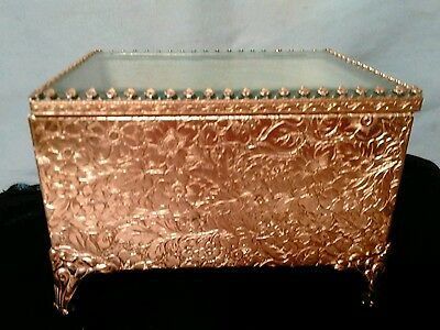 Vintage Gold Leaf? Footed Trinket Box with Glass Lid 4x3x3
