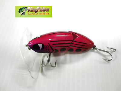 Kingfisher Mantis 88mm articulated surface lure; 12 hot pink NEW
