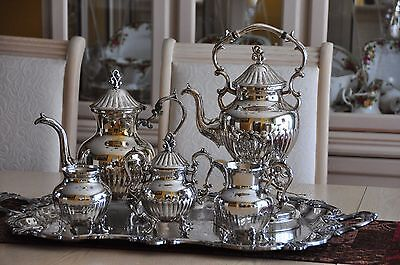 Regal Birmingham Silver on Cooper Silverplated  Coffee/Teapot set & tray - 6 ps.