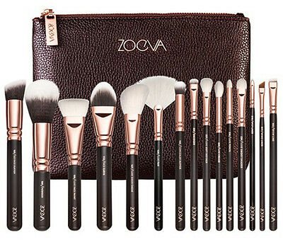 15PCS ZOEVA Rose Golden Makeup Cosmetic Complete Eye Set Powder Brushes Clutch