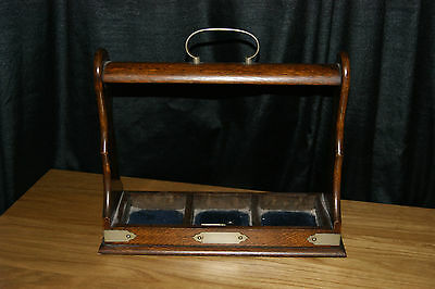 Stunning Vintage Oak 3 Decanter Tantalus Lock With Key And Brass Fittings