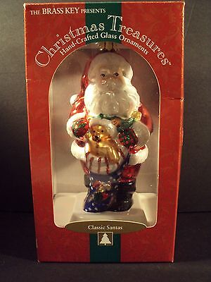 Big Christmas Treasures BLOWN GLASS SANTA ORNAMENT Stocking w/ Toys Hand Crafted