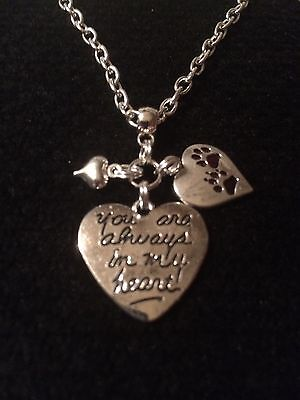 "Silver Plated 18"" You Are Always In My Heart/pawprints Heart Pet Loss Necklace"