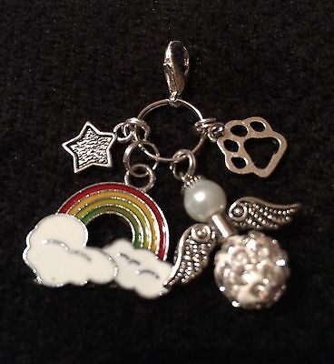 Rainbow Bridge, Shamballa Guardian Angel, Pet Paw + Star Pet Loss Clip On Charm