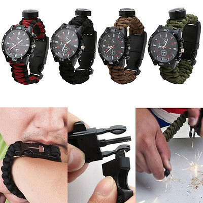 New Outdoor Survival Paracord Watch Bracelet Compass Flint Fire Starter Whistle
