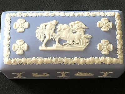 Wedgwood Jasperware Blue Trinketbox with White Bas Relief, Vintage