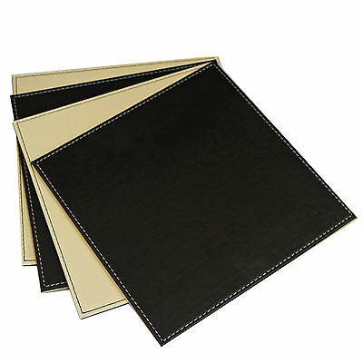 Pack of 4 Quality Faux Leather Dinner Table Place Mats – Grey & Black