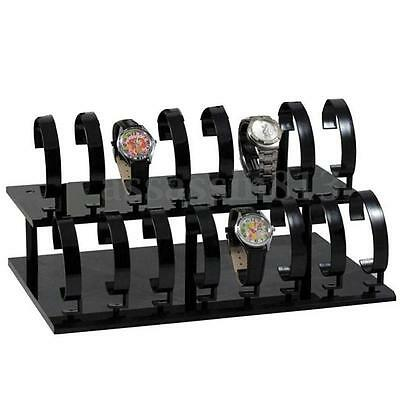 2-Tiers Black Bracelet Wrist Watch Bangle Display Stand Showcase Rack Holder