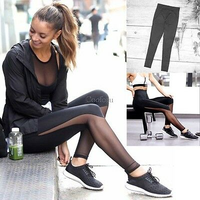 Women Sports Trouser Yoga Mesh Workout Gym Leggings Fitness Athletic pants CO99