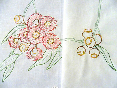 Vintage Hand Embroidered Linen ~ Australian Red Gum Blossom Tablecloth