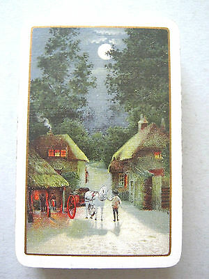 Antique Goodall Playing Cards Horses Cottages Boy Moonlight Country Scene 1910