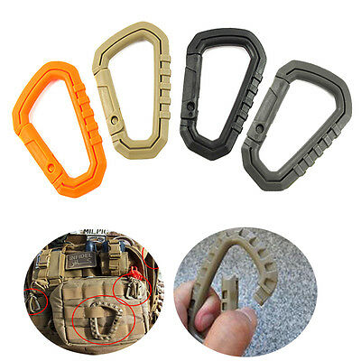 Carabiner D-Ring Key Chain Clip Hook Molle Camping Buckle Snap Plastic 8.7cm