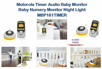 Motorola Timer Audio Baby Monitor - Baby Nursery Monitor Night Light MBP161TIMER