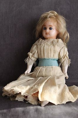 Lovely Antique wax headed doll glass eyes 13 inches
