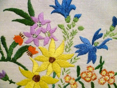 "Unique Heavily Hand Embroidered Wild Flowers of Australia ~Tablecloth 34"" x 35"""
