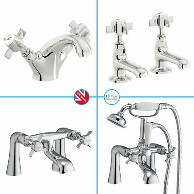 Traditional Chrome Victorian Bathroom Taps Cross Bath Shower Mixer Filler Sink