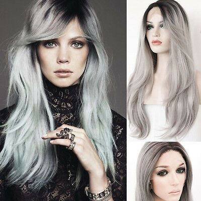 """20""""Lace Front Wig Ombre Gray Heat Resistant Synthetic Hair Natural Straight Wig"""