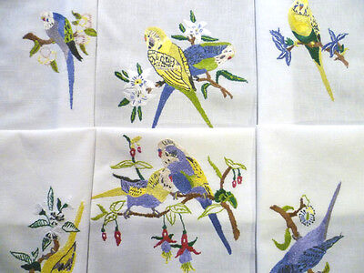 Australian Budgerigars / Budgies ~ Vintage Heavily Hand Embroidered Tablecloth
