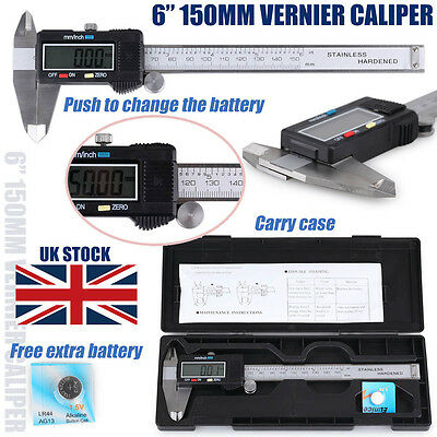 "Metal 150MM 6"" Internal/External LCD Display Digital Vernier Caliper Gauge Case"