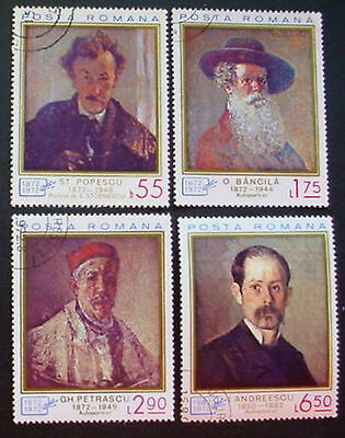 Romania 1972: Romanian Art Potraits: Set 4 Mnh Stamps With Precancel