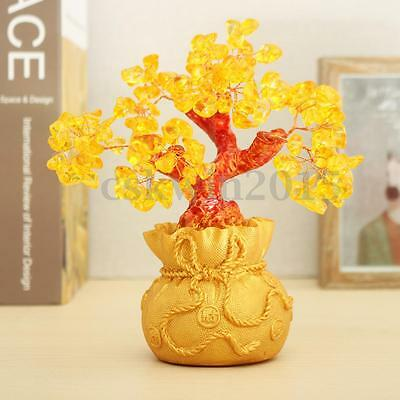 Money Wealth Lucky Tree Feng Shui Citrine Crystal Gem Home Shop in Money Decor