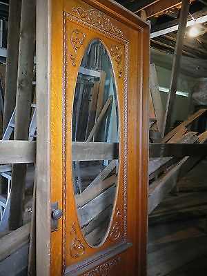 Antique Oak Exterior Entry Door, Oval Lite Beveled Glass, Raised Floral Carving