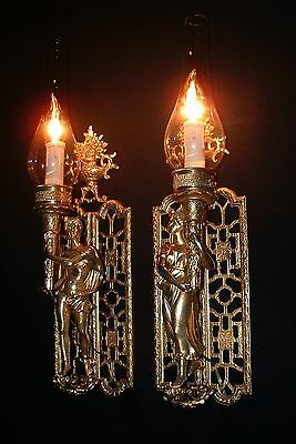 Vintage large French bronze Caryatides figures sconces with globes