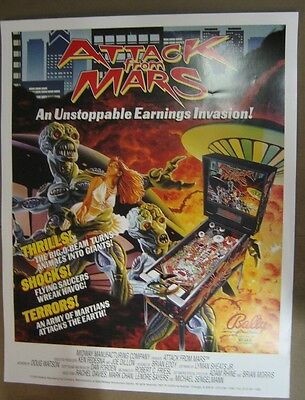 Attack From Mars Pinball Poster Bally 1995 D