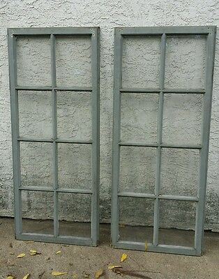 "Vtg Antique Set 2 Windows Wood 8 Lights 57"" Architectural Salvage Wedding Nice!"