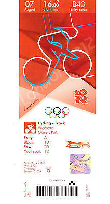 London 2012 Olympic Replica Ticket - Cycling Track 07 August  Collectors Edition