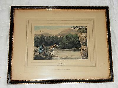 FISHING ANTIQUE ETCHING PICTURE  H. ALKEN PUBLISHED BY THOMAS Mc.LEAN 1864