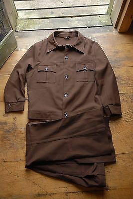 Vintage 1970's Brown Polyester Leisure Suit Flares Disco 44R 38R