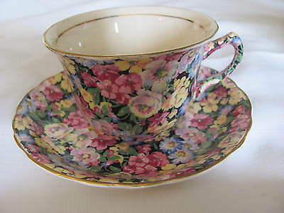 James Kent Chintz Demi Cup And Saucer  England  Hydrangea Pattern