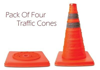 "4x 18"" Portable Pop Up Multipurpose Folding Traffic Cone Driving Safety Warning"