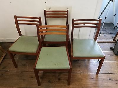 Vintage Military Industrial School Mid Century Chairs X 4