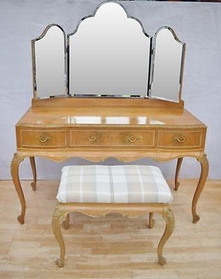 Antique Style Queen Anne walnut Dressing Table with matching Upholstered Stool