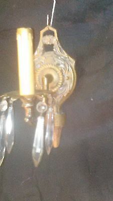Art deco crystal and brass wall sconce light fixture