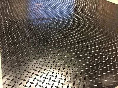 3Mm Thick Heavy Duty Checker - Plate Rubber Garage Flooring Matting 1.5M Wide