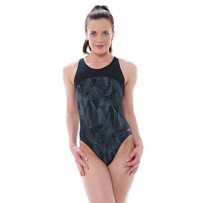 NEW Zoggs Womens Concord Zippedback Swimsuit - Black